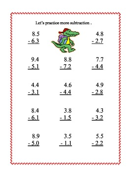 Decimals-Adding and Subtracting Tenths & Hundredths- Back to School Theme