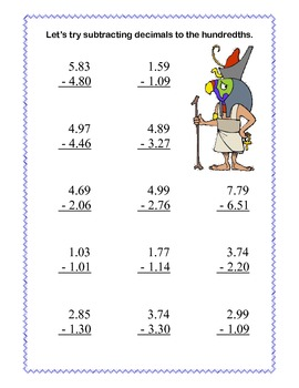 Decimals-Adding and Subtracting Tenths & Hundredths- Ancient Egyptian Theme