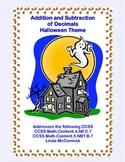 Decimals-Adding and Subtracting Tenths & Hundredths- HalloweenTheme