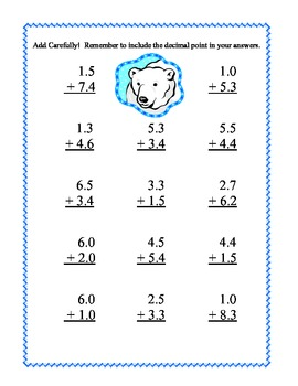 Decimals-Adding and Subtracting Tenths & Hundredths- Winter Theme