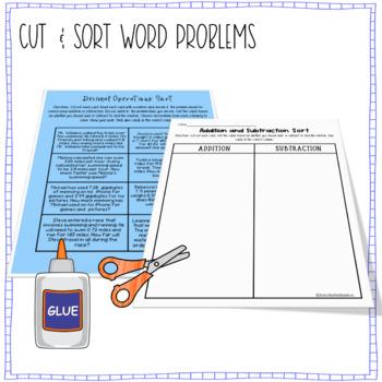 Decimals - Adding and Subtracting Word Problems Sort & Solve -5.NBT.B.7