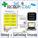 Decimals - Adding and Subtracting Word Problems Sort & Solve -5.NBT.B.7