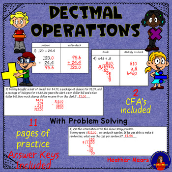 Decimals Addition Subtraction Multiplication Division