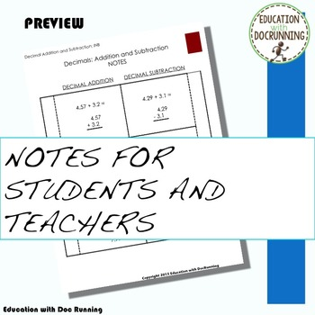 Decimal - Addition and Subtraction of Decimals Notebook Foldable (6.NS.B.3.)