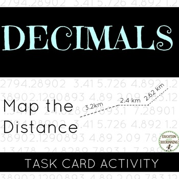 Decimal -  Addition with map distances Task Card Activity