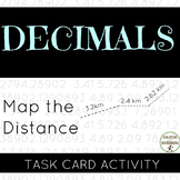 Decimals Addition with map distances Task Card Activity