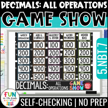 Decimals: All Operations Game Show PowerPoint Review Game | Test Prep