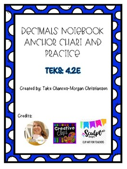 Decimals Anchor Chart and Practice TEKS 4.2E