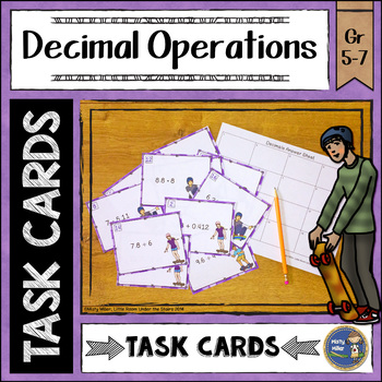 Adding Subtracting Multiplying and Dividing Decimals Task Cards