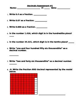 Decimals Assessment 1