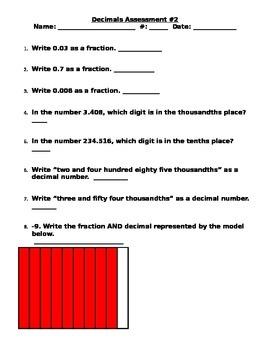 Decimals Assessment 2