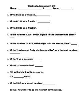 Decimals Assessment 3