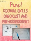 Decimals Assessment and Checklist {Free}