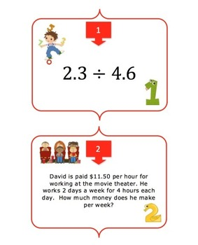Decimals - Four Basic Operations Task Card REVIEW GAME - {Common Core}
