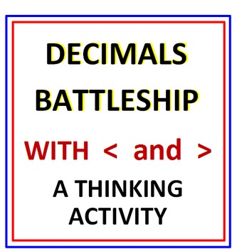 Decimals Battleship (Comparing Decimals with Greater Than