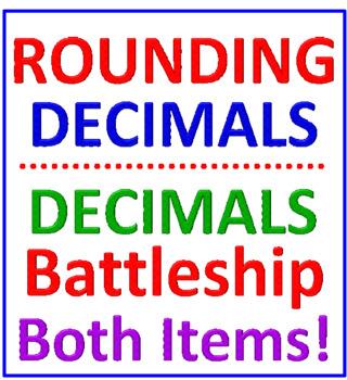 Decimals Battleship PLUS Rounding Decimals Reinforcement (BOTH ITEMS)