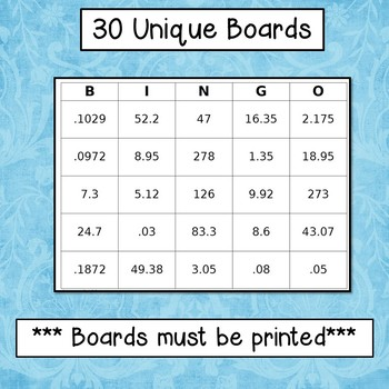 decimals bingo add subtract multiply and divide 6 ns 3 by simone. Black Bedroom Furniture Sets. Home Design Ideas