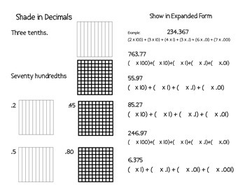 Decimals - Booklet Review -extended form, comparing values,