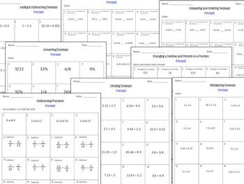 Decimals Bundle-Adding, Subtracting, Dividing, Multiplying, Rounding, Converting