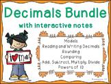 Decimals Bundle {Lessons, Worksheets, Assessments, Interactive Notebook}