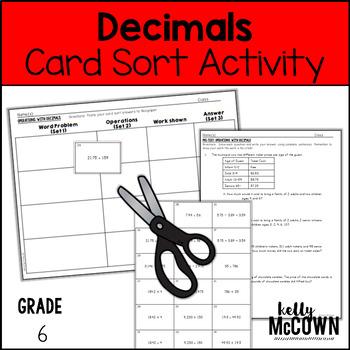 Decimals Card Sort Activity Lesson