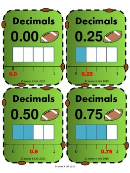 Decimals Cards: Football Style Cards