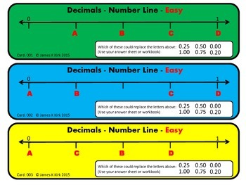 Decimals Cards: Number Lines: Place Value