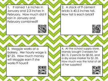 Decimals-Centers, QR Code Task Cards, Printables, Essential Questions and More