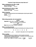 Decimals Cheat Sheet
