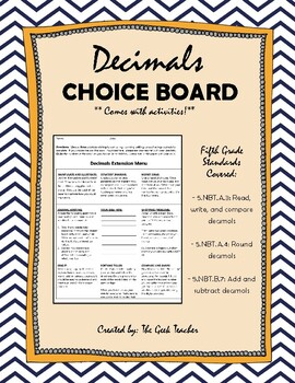 Decimals Choice Board or Math Centers(with activities!)