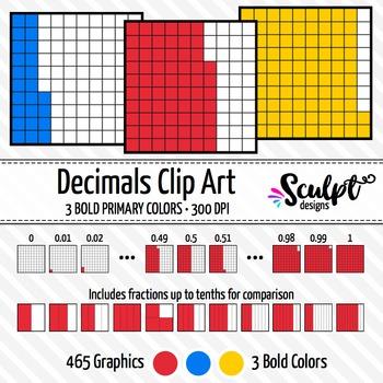 Decimals Clip Art ~ Bold Colors ~ Fractions & Decimals Clipart