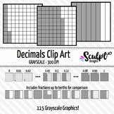 Decimals Clip Art ~ Gray Fractions & Decimals Clipart