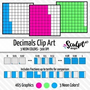 Decimals Clip Art ~ Neon Colors ~ Fractions & Decimals Clipart