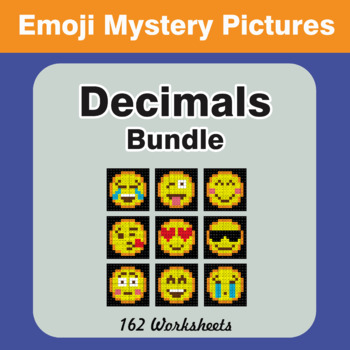 Decimals Color-By-Number EMOJI Mystery Pictures Bundle