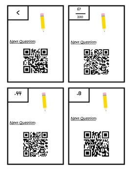 Decimals - Comparing/ Writing as Fractions - QR Scavenger Hunt 4.NF.6 & 4.NF.7