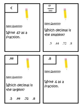 Decimals - Comparing and Writing as Fractions - Scavenger Hunt 4.NF.6 and 4.NF.7
