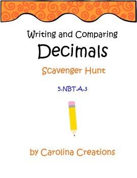 Decimals Scavenger Hunt - Compare/Write to Thousandths - Fifth Grade - 5.NBT.A.3