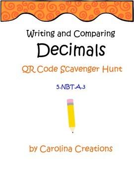 Decimals Comparing/Place Value QR Code Scavenger Hunt - Fi
