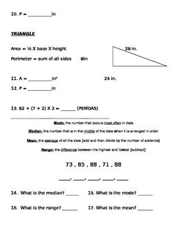 Decimals, Computation, Area, Perimeter, Mode, Median, Mean, Range
