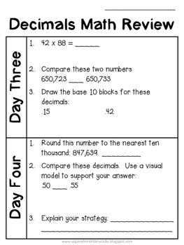 Decimals - Daily Math Practice
