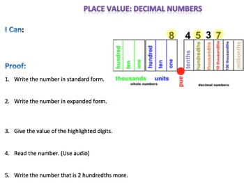 Decimals Digital Interactive Math Notebook