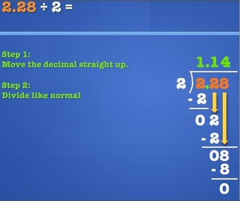 Decimals: Dividing a Decimal by a Whole Number: MAC PowerPoint and Worksheets