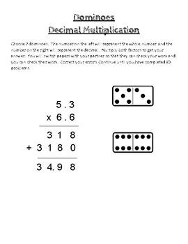 Decimals Dominoes:  Multiplying Decimals
