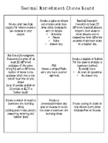 Decimals Enrichment Choice Board