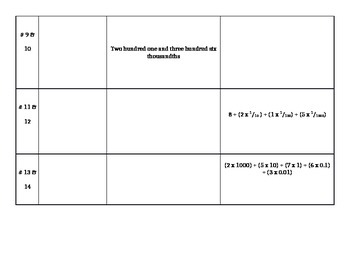 Decimals Expanded Form Quiz/Worksheet