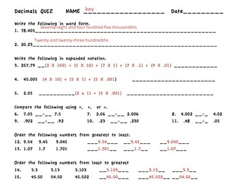 Decimals; Expanded Notation, Comparing,Ordering and Rounding