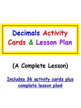 Decimals FREE Activity Cards & Lesson Plan PREVIEW