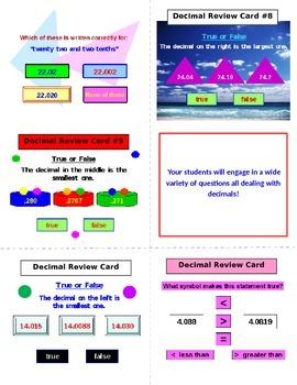 Decimals FREE Review Cards PREVIEW