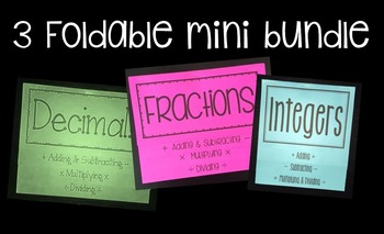 Decimals, Fractions, Integers (3 Foldable Bundle)