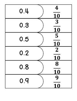 Decimals & Fractions Match Game